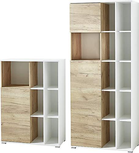 Germania 2-tlg. Büromöbel-Set 8056-513 GW-Lioni, inklusive zwei Aktenschränke, im Dekor Weiß/Navarra-Eiche-Nb.