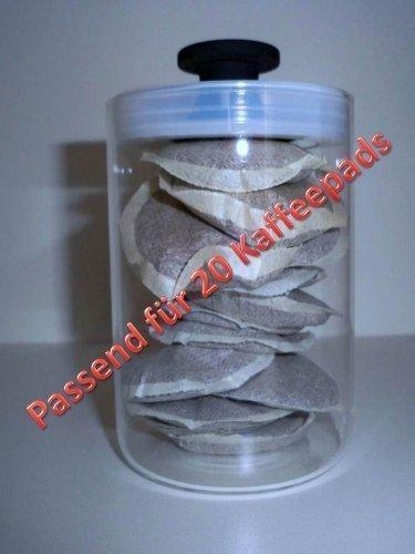 Coffee pads Dose Glas m.Vaccumdeckel von James Premium® passend für 20 Kaffeepads