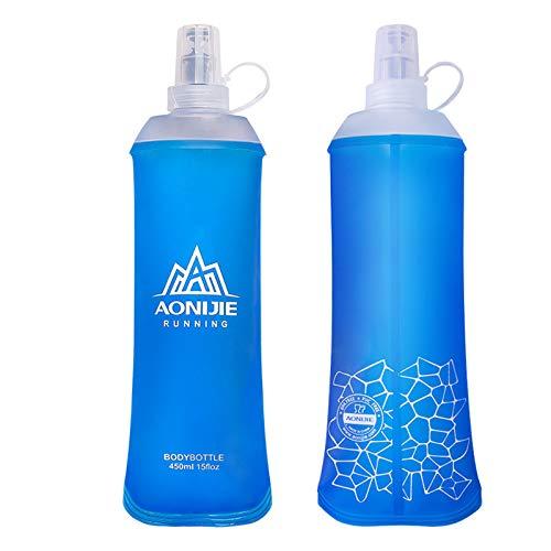 AONIJIE 450ml/500ml Soft Flask TPU Botella Bolsa de Hidratación s Ideal para Mochila de Hidratación para Correr Ciclismo Senderismo (450ML-2PCS)