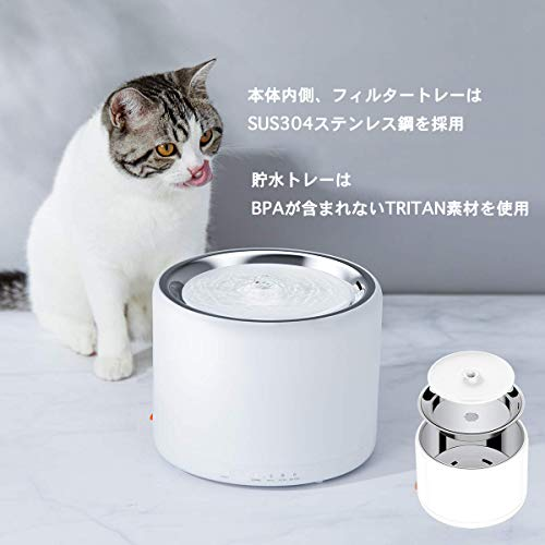 PETKIT給水器3rd世代ペット用水飲み器猫犬循環式静音三重濾過自動パワーオフLEDライト付き2WAY給電1.35Lホワイト