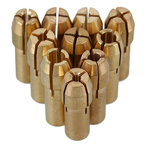 CNBTR 0.5-3.2mm Brass Collet Drill Chuck Fits Rotary Tools Electric Grinding Drill Collect Chuck Holder Pack of 10 (4.8mm Shank Dia.)