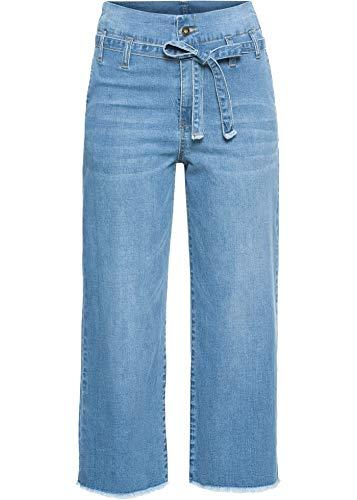 bonprix Angesagte High-Waist-Jeans im Culotte-Stil mit Bindegürtel Blue Stone 36 für Damen