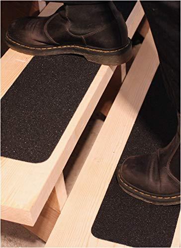 Rutschschutz Antirutsch-Band für Aussentreppe 15x101cm (10er-Set) – Anti-Rutsch-Streifen für Treppen-Stufen Aussen, Selbstklebend, Schwarz