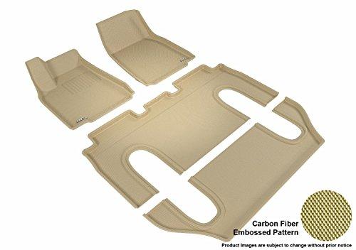 3D MAXpider - L1TL00101502 Komplettset passgenau Allwetter-Fußmatte für ausgewählte Tesla Model X Modelle - Kagu Rubber (Hellbraun)