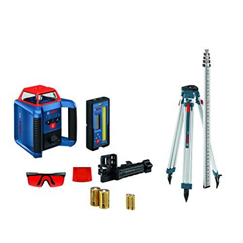 BOSCH REVOLVE2000 GRL2000-40HK Exterior 2000ft Range Horizontal Self-Leveling Cordless Rotary Laser Kit with Tripod, 13ft Grade Rod and Laser Receiver