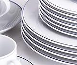 Kahla 050813O72045A Aronda Blaue Linie Geschirrset 30-teilig für 6 Personen Komplettset weißblau rund Suppenteller großer Speiseteller Tassen Snackteller - 6