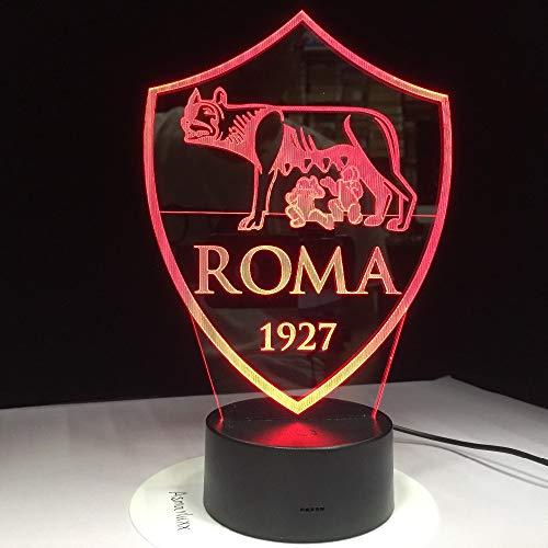 Luce Notturna 3D As Roma 3D Led Luce Usb 3Aa Batteria Luce Notturna 7 Cambia Colore Telecomando Interruttore Lava Lampada Decorazione Fan Regalo