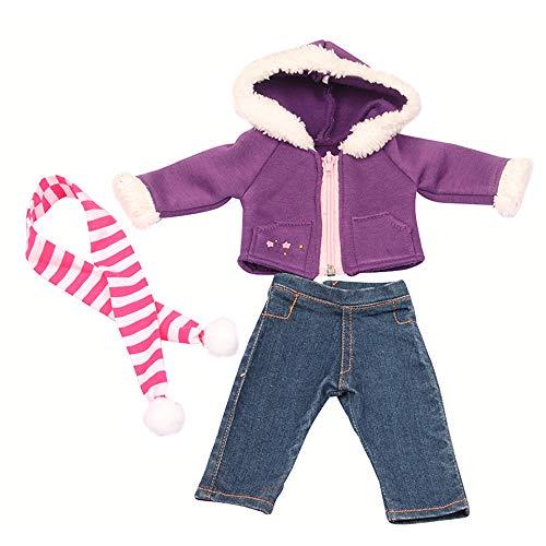Jilibaba Puppe Kleidung Outfit Winter Warm 3 Stück Geschenk Kinder Spielzeug Kostüm Zubehörn für 18 In / 46cm American Girl Dolls