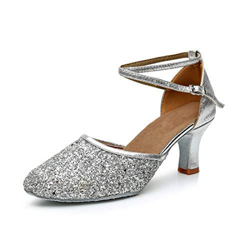 iCKER GetMine Womens Latin Dance Shoes Heeled Ballroom Salsa Tango Party Sequin Dance Shoes Silver 9