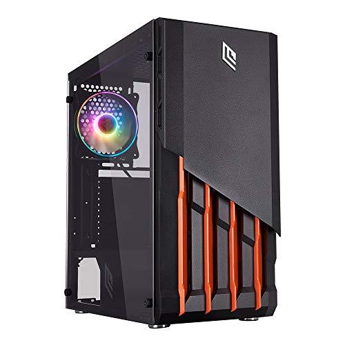 Noua Crystalix Black Case ATX Middle Tower per PC Gaming in SPCC 0.5mm con 3 Ventole Halo RGB Pannello Frontale in Vetro Temperato e Pannello Laterale Full Acrylic Senza Alimentatore