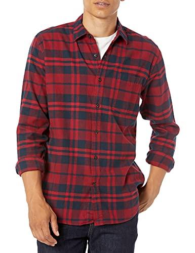 Amazon Essentials Chemise en Flanelle à Manches Longues et Coupe régulière. Button-Down-Shirts, Red (Red Plaid), Medium