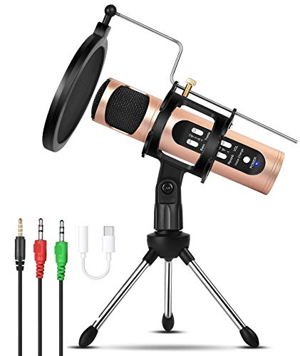 Microphone for Phone with Voice Changer, REMALL Microphone for Computer, Streaming Podcast, Gaming, YouTube, Singing Recording Studio, Karaoke PC Mic Kit with Tripod Stand