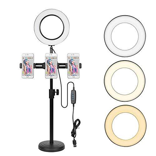 2020最新 3イン1リングライト スマホのカメラ用 自撮りライト スマホスタンド マイクホルダー 一体化 目に優しい USB給電 3段階調色 10段階調光 白光 暖光 自然光 (LEDリングライトセット)