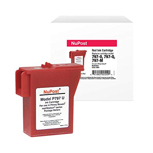 NuPost Brand Replacement Postage Meter Cartridge for Pitney Bowes 797-0, 797-Q, 797-M | Red