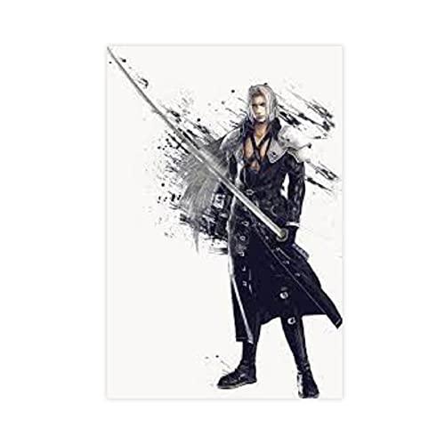 Póster de lienzo con espada de sephiroth de Final Fantasy para decoración de pared, para sala de estar, dormitorio, decoración, 30 x 45 cm