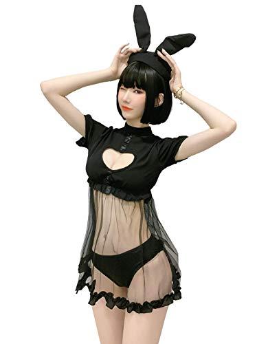 YUANMO Sexy Bunny Cosplay Dessous Kleid Kawaii Anime Kätzchen Schlüsselloch Kostüm Süß Maid Outfit Japanische Lolita Unterwäsche Gr. S-M, Schwarz (Schwarz, One Size)
