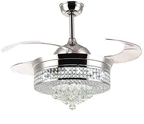 Moooni Dimmable Fandelier Retractable Ceiling fans with Lights and Remote Invisible Crystal Chandelier Fan 42 Inches Polished Chrome