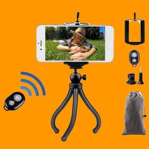 Mobiele telefoon statief, tripod met Bluetooth 3-in-1, flexibele smartphone-ministatief, camerastatief met afstandsbediening, mobiele telefoon houder voor camera, iPhone, Samsung, YouTuber, driepoot statief, selfiestick