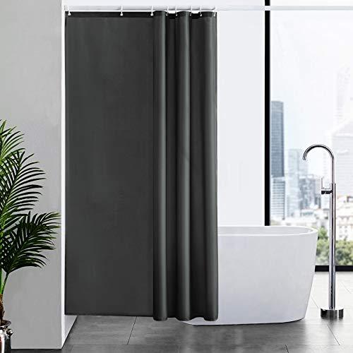 Furlinic Duschvorhang Textil Anti-schimmel Wasserdicht Waschbar Badvorhang aus Polyester Stoff Dunkelgrau 120x200cm mit 8 Duschvorhangringen.