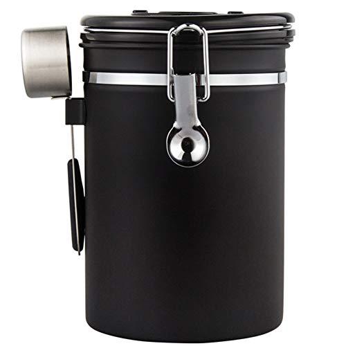 Livecitys Kaffeedose, luftdicht, für Kaffee, Zucker, Tee, Edelstahl, versiegelt, mit Löffel, Zeitaufbewahrung, feuchtigkeitsbeständig, tragbar, Edelstahl, Schwarz