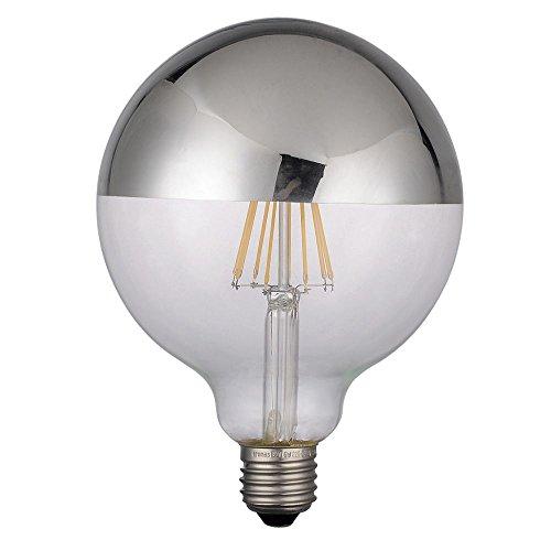 Globo LED-gloeilamp met koepel, zilverkleurig, 6 W, diameter 125 mm, E27, warmwit, 2700 K