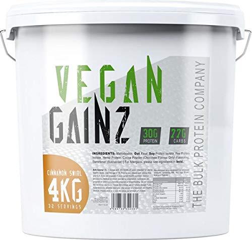 The Bulk Protein Company Vegan Gainz Protein Powder, Weight Gain, Plant Based Protein Powders 30 g Per Serving, Cinnamon Swirl, 4 kg