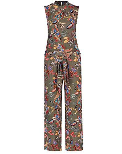 Taifun Damen ärmelloser Jumpsuit Lässige Passform Soft Khaki Gemustert XS