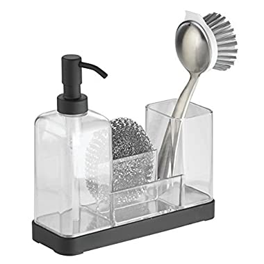 mDesign Kitchen Soap Dispenser Pump, Sponge, Scrubby and Dish Brush Caddy Organizer - Clear/Matte Black