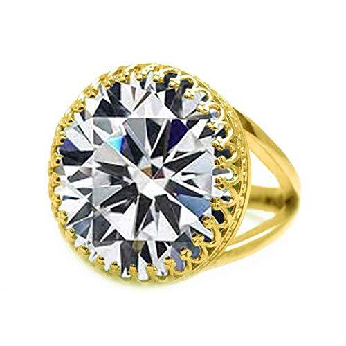 JewelryGift Anillos de piedra preciosa chapada en oro de 18 quilates con circonita cúbica blanca natural facetada, anillos de joyería de moda para hombres y mujeres-M