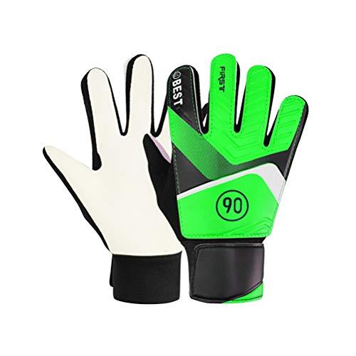 ABOOFAN Fußball-Sporthandschuhe für Torwart, saugfähig, verschleißfest, atmungsaktiv, verstellbare Ausrüstung für Kinder und Teenager, 7 (grün), 1 Paar