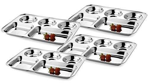 WhopperIndia Teller aus Edelstahl mit fünf Fächern, Thali, Tablett, Geschirrteller-Set mit 4 Stück - je 33 cm