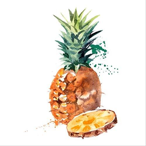 Preisvergleich Produktbild tytuoling DIY Digitale Malerei Ananas Aquarell Früchte Moderne Hängende Wandkunst Bild Malerei Abstrakte Küche Dekoration Home Art Rahmenlose 50X50 cm