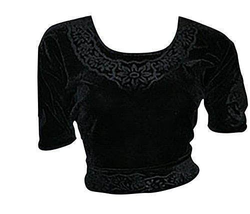 Negro Choli ( Sari Top) terciopelo talla 36 / talla S IDEAL PARA DANZA DEL VIENTRE