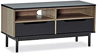 MUSEHOMEINC Wood TV Stand/Media Console with Shelve and Drawer for Living Room,Mid-Century Modern Style,TV Sides Up To 50 Inch/Multipurpose Entertainment Media Center,Black and Antique Gray Finish