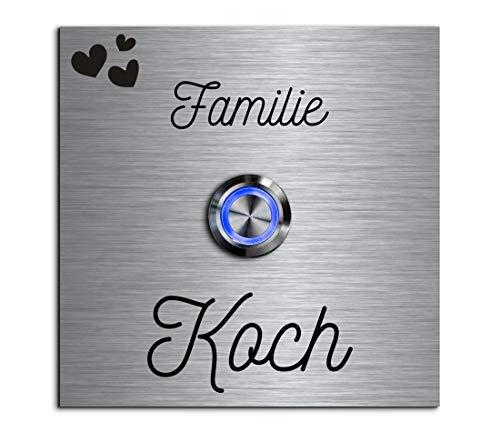 CHRISCK design - Edelstahl Türklingel mit Wunsch-Gravur Led-Beleuchtung und Motive 9x9 cm Klingel-Taster Namen Modell: Koch