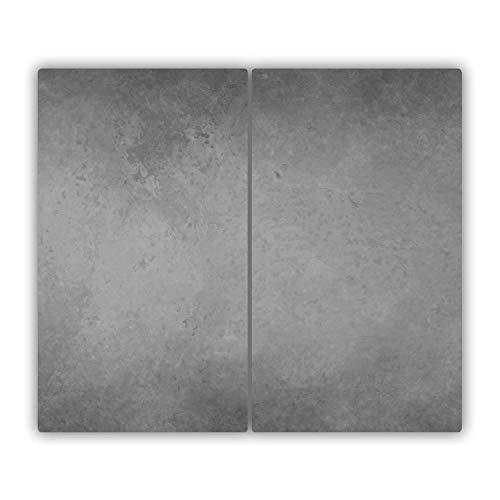 Tulup Glas Herdabdeckplatte Ceranfeldabdeckung Spritzschutz Glasabdeckplatte Kochplattenabdeckung und Schneidebrett - Zweiteilig - 2x30x52 cm - Sonstige - Beton - Grau