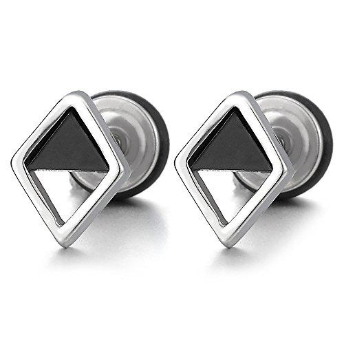 Plata Negro Abierto Forma Diamante Enchufe Falso Fake Cheater Plugs Gauges, Pendientes Hombre Mujer, Acero, 2 Piezas