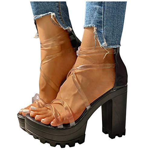 Aniywn Women's Chunky Heel Platform High Heels Shoes Sandals Clear Strappy Open Peep Toe Sandal Black