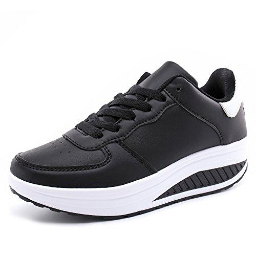 Hoylson Zapatillas Deportivas de Mujer Zapatos de Cuña Aptitud Sneakers Calzado para Damas(Negro sin algodón, EU 37)