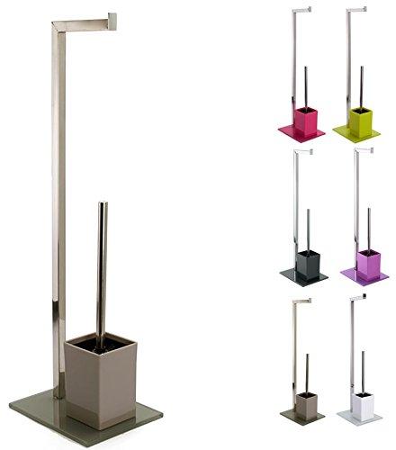 MSV 807–Set di base talpa per WC, acciaio inox, 22x18x70,05 cm, colore Marrone