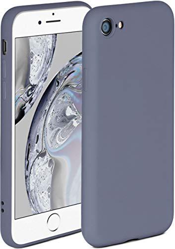 ONEFLOW Soft Hülle kompatibel mit iPhone 7/8 / SE 2 (2020) Hülle aus Silikon, erhöhte Kante für Displayschutz, zweilagig, weiche Handyhülle - matt Blau Grau