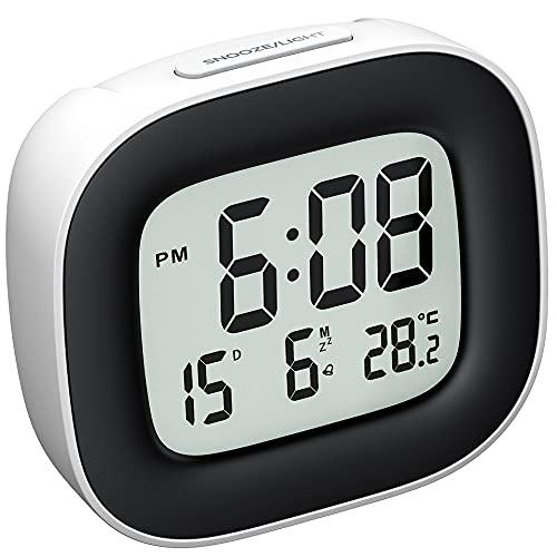Sveglia da Viaggio con Batteria, sveglia digitale da comodino con Retroilluminazione per camera da letto,Portatile con Display Temperatura Calendario,Funzione di Snooze, 12 24 Ore, Facile da Usare