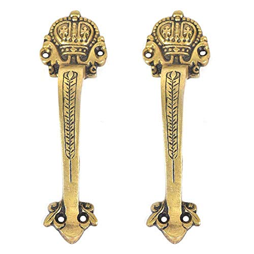 IndianShelf 2 Pair Handmade Golden Ornate Victorian Solid Front Door Entry Door Brass Handles Wardrobe pulls for Cabinet