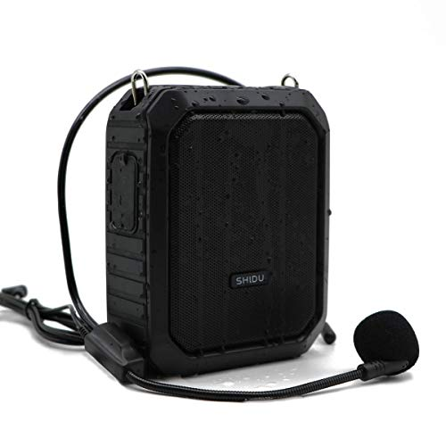 Voice Amplifier Microphone Headset, 18W Portable Mini Wired PA System Waterproof Personal Speaker and Mic as Voice Amp/Recorder/Bluetooth Speaker/Powerbank for Teacher Classroom ect
