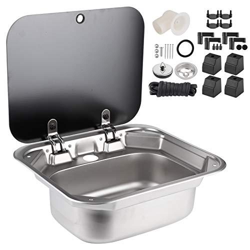 Fregadero cuadrado de acero inoxidable plegable para cocina, lavabo individual con tapa...