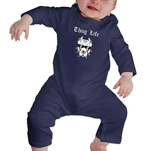 Rasyko Thug Life Pitbull Baby Crawler Baby Persönlichkeit Klettern Kleidung Kleinkind Strampler Gr. 12 Monate, Navy