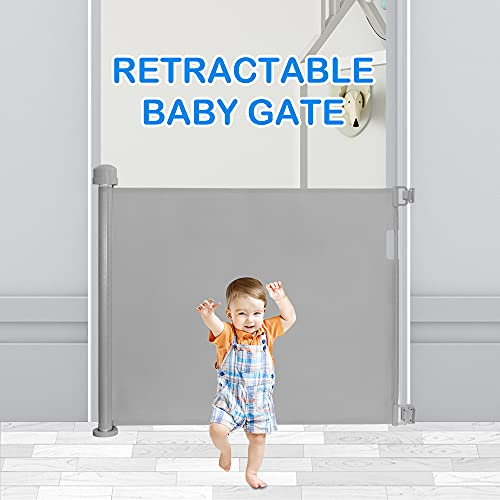 Youtheart Retractable Stair Gate for Baby and Pets, Extra Wide Safety Mesh Stair Gates Simple Operation Stable Baby Gate Extends to 140 cm Suitable for Indoor Outdoor Stairs Hallways, Grey