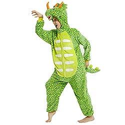 8. Aiwendish Bright Green Dinosaur Triceratops Onesie