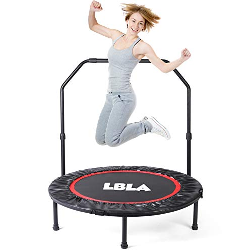 LBLA Mini Trampolín plegable para salto de fitness con mango ajustable ø96 cm Trampolín de fitness al aire libre para ejercicio físico y aeróbicos Niños adultos Interior / exterior, Peso máximo: 120 kg