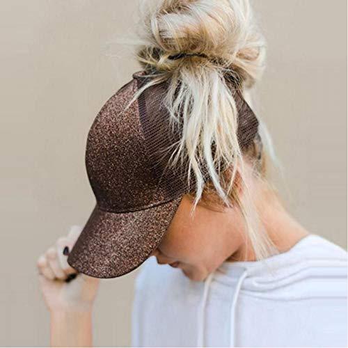 JKJKL Baseball Cap Glitter Pferdeschwanz Baseball Cap Frauen Snapback Hut Mesh Caps Messy Bun Sommer Weibliche Hip Hop Hüte